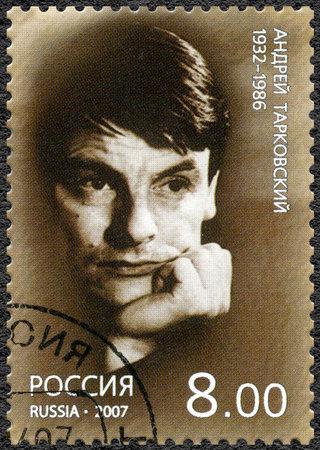 theorist: RUSSIA - CIRCA 2007: A stamp printed in Russia shows Andrei Tarkovsky (1932-1986), circa 2007 Editorial