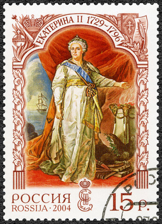 ii: RUSSIA - CIRCA 2004: A stamp printed in Russia shows Catherine II Alekseevna (1729-1796), empress, History of the Russian State, circa 2004 Editorial