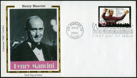 henry: UNITED STATES OF AMERICA - CIRCA 2004: A stamp printed in USA shows Henry Mancini (1924-1994), circa 2004