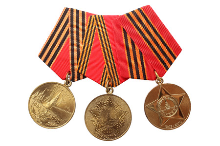 60 65 years: RUSSIA - CIRCA 1995, 2005, 2010: Jubilee Medals 50, 60, 65 Years of Victory in the Great Patriotic War 1941-1945 isolated on white background, circa 1995, 2005, 2010