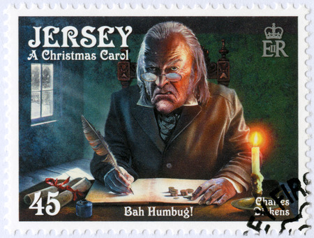 JERSEY - CIRCA 2012: A stamp printed in Jersey shows illustrations from A Christmas Carol, 200th anniversary of Charles Dickens(1812-1870), circa 2012 Editorial
