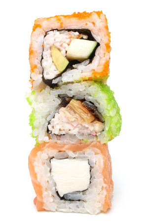 Sushi rolls on a white background photo