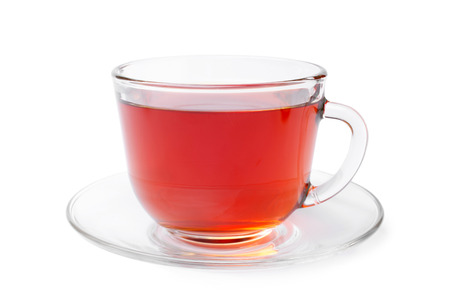 Cup of tea on white background photo