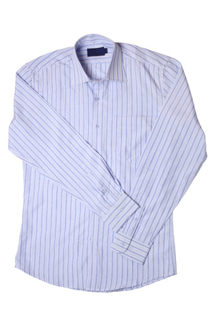 drycleaning: Blue pinstriped dress shirt isolated on white background Stock Photo