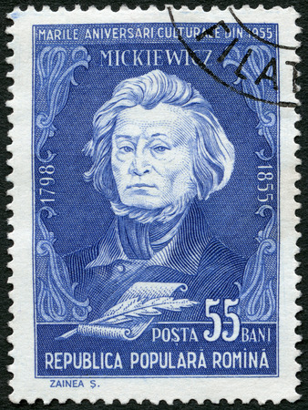 mickiewicz: ROMANIA - CIRCA 1955: A stamp printed in Romania shows Adam Mickiewicz (1798-1855), Polish poet, circa 1955 Editorial