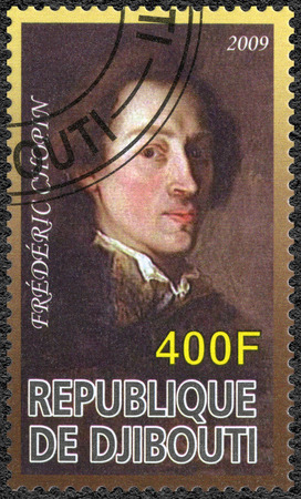 frederic: DJIBOUTI - CIRCA 2009: A stamp printed in Republic of Djibouti shows Frederic Chopin (1810-1849), composer, circa 2009