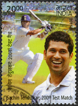 cricketer: INDIA - CIRCA 2013: A stamp printed in India shows Sachin Tendulkar, cricketer player, dedicated 200th Test Match, circa 2013 Editorial