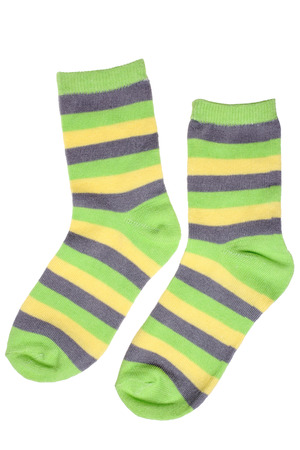socks child: Pair of childs striped socks isolated on white background Stock Photo