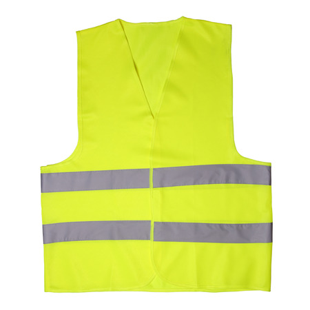 security vest: Green light vest isolated on white background Stock Photo