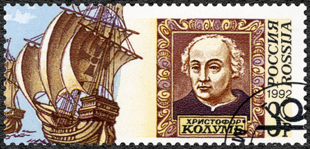 RUSSIA - CIRCA 1992: A stamp printed in Russia shows Christopher Columbus, devoted to 500th anniversary of the discovery of America, circa 1992