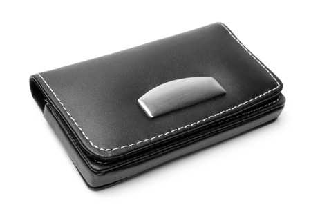 Leather visiting card holder on white background photo