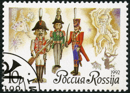 RUSSIA - CIRCA 1992: A stamp printed in Russia shows Russian dolls-nutckrackers, series Russian ballet The Nutcracker, by Tchaikovsky, circa 1992