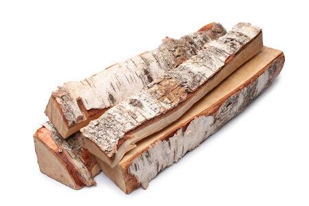 Birch firewood on white background photo