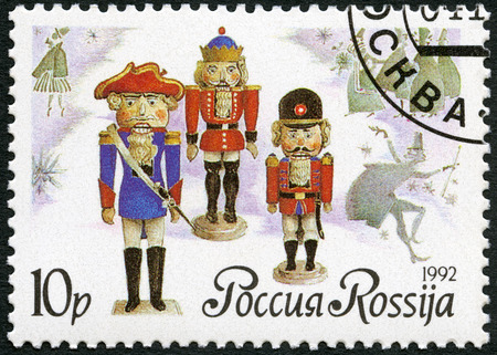 german mark: RUSSIA - CIRCA 1992: A stamp printed in Russia shows German dolls-nutckrackers, series Russian ballet The Nutcracker, by Tchaikovsky, circa 1992