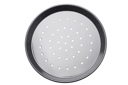 black mold: Pizza tin with air vents isolated on white background