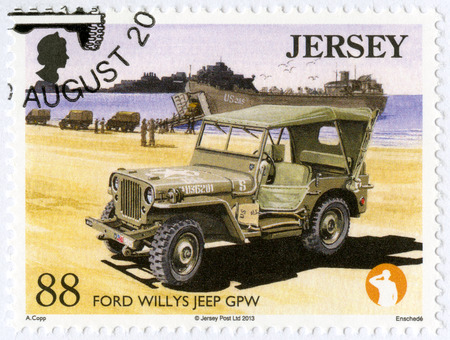 JERSEY - CIRCA 2013: A stamp printed in Jersey shows Ford Willys Jeep GPW, series Military Vehicles, circa 2013