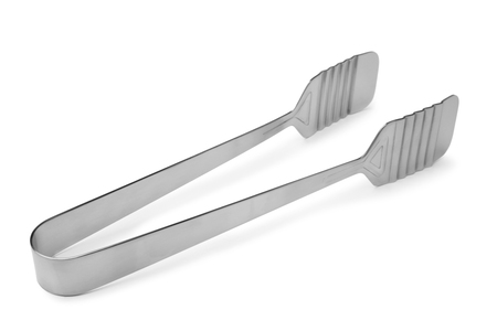 Serving tongs on white background