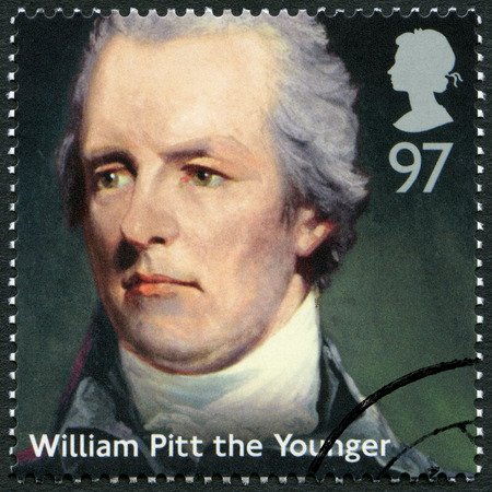 ministers: UNITED KINGDOM - CIRCA 2014: A stamp printed in United Kingdom shows William Pitt the Younger (1759-1806), politician, series Prime Ministers, circa 2014