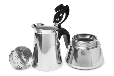 bolter: Metal coffeepot on white background