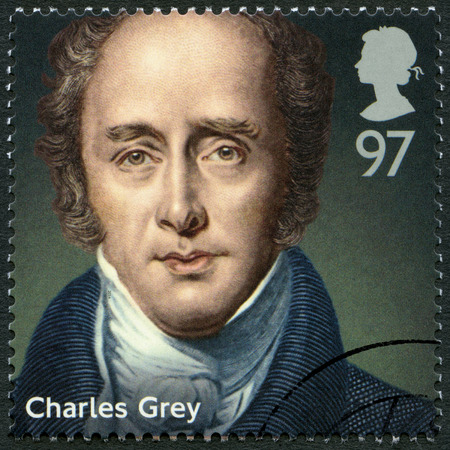 howick: UNITED KINGDOM - CIRCA 2014: A stamp printed in United Kingdom shows Charles Grey, 2nd Earl Grey (1764-1845), politician, series Prime Ministers, circa 2014