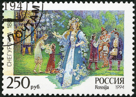 RUSSIA - CIRCA 1994: A stamp printed in Russia shows an episode from the opera The Snow Maiden, The 150th birth anniversary of the composer (1844-1908), circa 1994