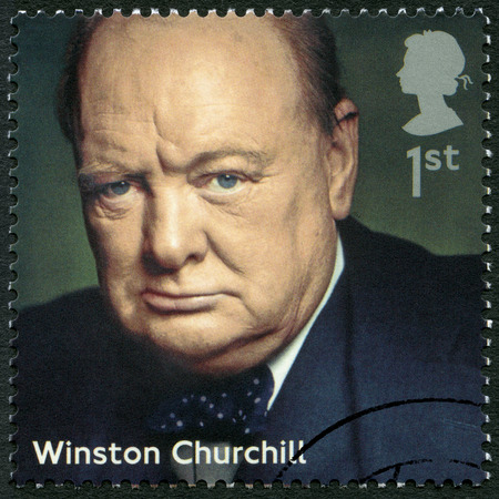 UNITED KINGDOM - CIRCA 2014: A stamp printed in United Kingdom shows Winston Churchill (1874-1965), politician, series Prime Ministers, circa 2014 Editorial