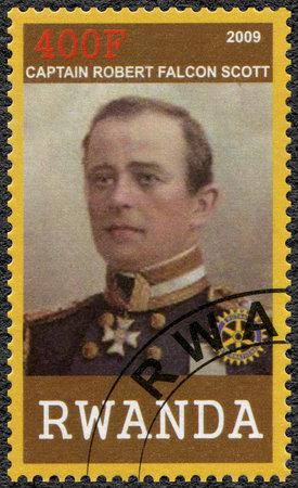 scott: RWANDA - CIRCA 2009: A stamp printed in Republic of Rwanda shows portrait of Captain Robert Falcon Scott (1868-1912), circa 2009