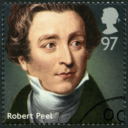 ministers: UNITED KINGDOM - CIRCA 2014: A stamp printed in United Kingdom shows Sir Robert Peel (1788-1850), politician, series Prime Ministers, circa 2014