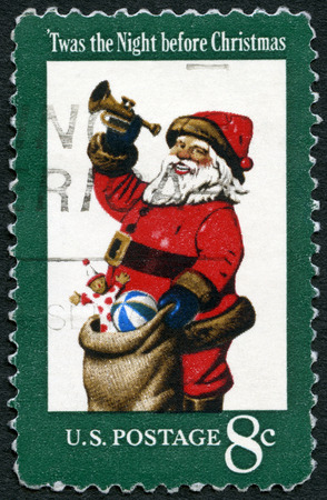 night before christmas: UNITED STATES OF AMERICA - CIRCA 1972: A stamp printed in USA shows Santa Claus, It was the Night before Christmas, circa 1972 Editorial