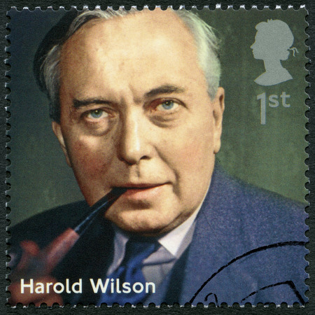 wilson: UNITED KINGDOM - CIRCA 2014: A stamp printed in United Kingdom shows Harold Wilson (1916-1995), politician, series Prime Ministers, circa 2014