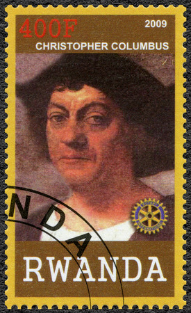 christopher columbus: RWANDA - CIRCA 2009: A stamp printed in Republic of Rwanda shows portrait of Christopher Columbus (1450-1506), circa 2009