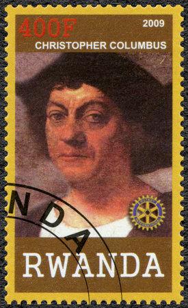 colonizer: RWANDA - CIRCA 2009: A stamp printed in Republic of Rwanda shows portrait of Christopher Columbus (1450-1506), circa 2009