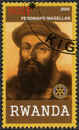 ferdinand: RWANDA - CIRCA 2009: A stamp printed in Republic of Rwanda shows portrait of Ferdinand Magellan (1480-1521), circa 2009