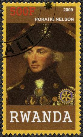nelson: RWANDA - CIRCA 2009: A stamp printed in Republic of Rwanda shows portrait of Horatio Nelson (1758-1805), circa 2009 Editorial