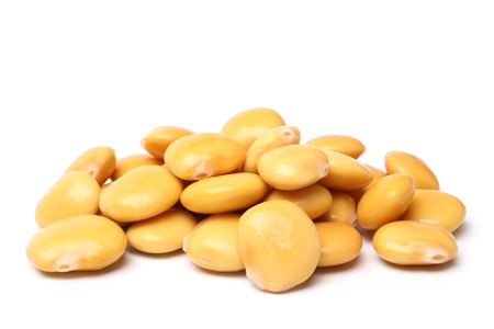 Lupini beans on white background