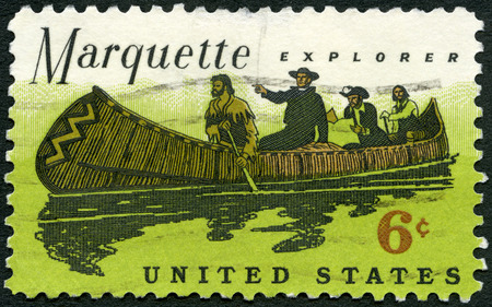 USA - CIRCA 1968: A stamp printed in United States of America shows Father Marquette (1637-1675) and Louis Jolliet Exploring the Mississippi, circa 1968 Editorial