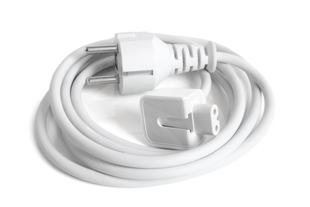ac: AC Power Cable Cord on white background Stock Photo