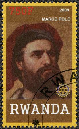 RWANDA - CIRCA 2009: A stamp printed in Republic of Rwanda shows portrait of Marco Polo (1254-1324), circa 2009