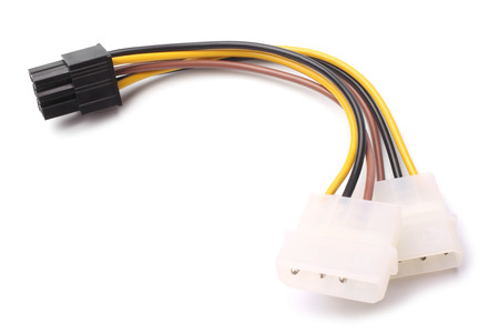 peripherals: Two Molex connectors to one 6-pin PCI Express connector on white background