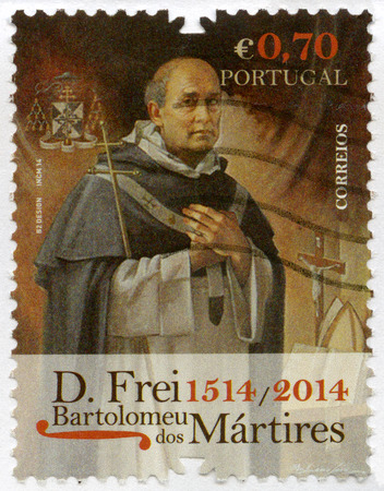 friar: PORTUGAL - CIRCA 2014: A stamp printed in Portugal shows Blessed Friar Bartolomeu dos Martires (1514-1590), devoted 500th anniversary of birthday, circa 2014
