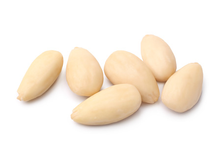 Blanched almonds on white background Stock Photo