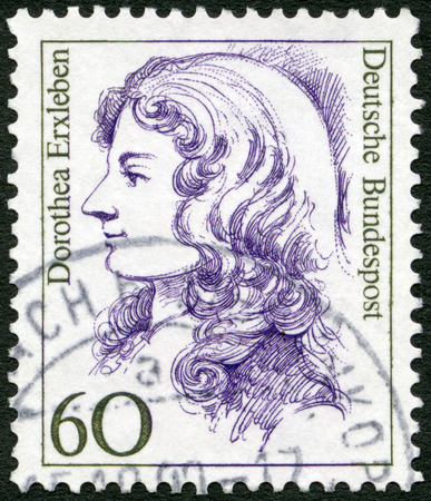 famous women: GERMANY - CIRCA 1987: A stamp printed in Germany shows Dorothea Erxleben (1715-1762), physician, series Famous Women, circa 1987