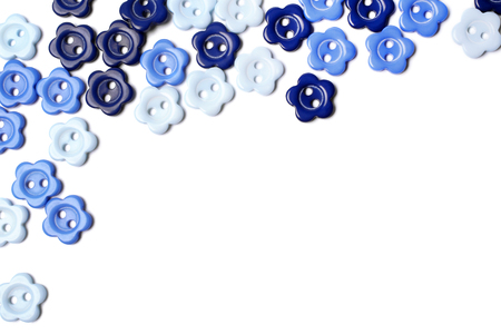 Blue buttons on white background photo