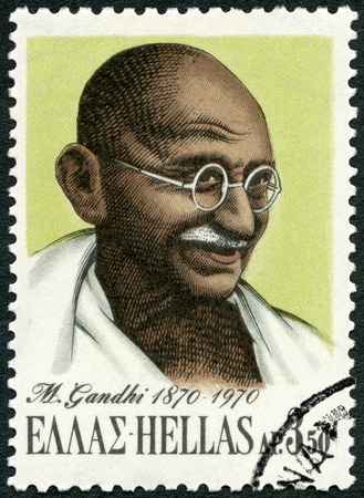 indian postal stamp: GREECE - CIRCA 1970: A stamp printed in Greece shows portrait of Mohandas Karamchand Gandhi (1869-1948), circa 1970 Editorial