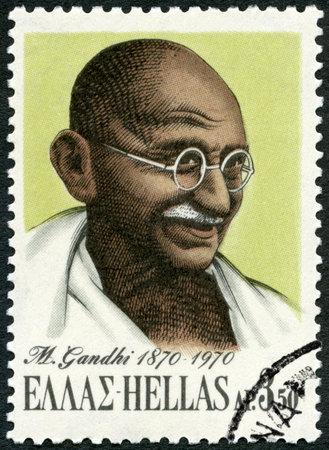 mahatma: GREECE - CIRCA 1970: A stamp printed in Greece shows portrait of Mohandas Karamchand Gandhi (1869-1948), circa 1970 Editorial