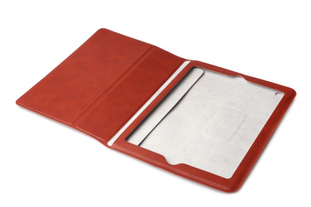 computer case: Brown leather tablet computer case on white background