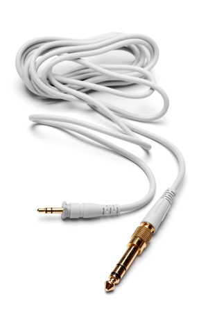 minijack: 3,5mm Stereo Male to 6,3mm Strereo TRS Male Audio Cable on white background
