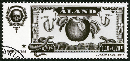 tolerance: ALAND - CIRCA 2014: A stamp printed in Aland dedicated Charity Stamp Zero Tolerance, circa 2014 Editorial