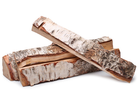 Birch firewood on white background Stock Photo