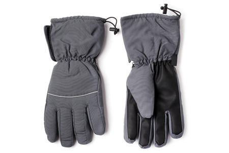 spliced: Male warm gloves on white background